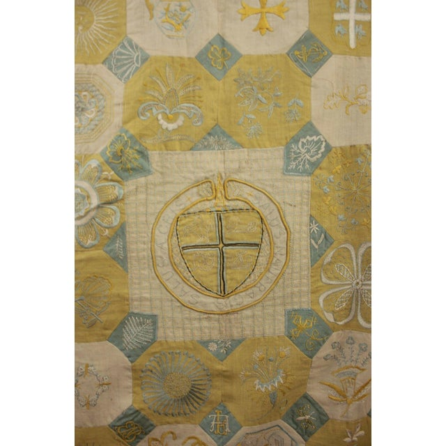 Vintage English Ramsgate Heraldry Linen Embroidered Block Quilt For Sale - Image 11 of 12