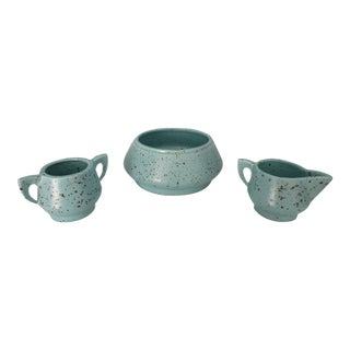 1960s Turquoise Speckled Serving Set For Sale