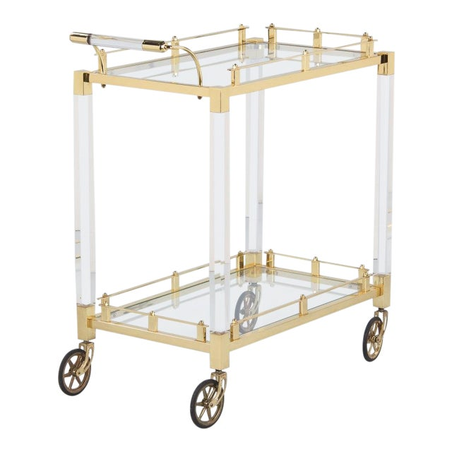 1970s Spanish Lucite and Brass Bar Cart For Sale