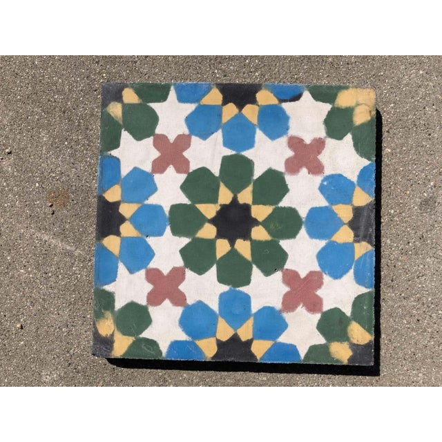 Moroccan Encaustic Cement Tiles with Traditional Fez Moorish Design For Sale - Image 4 of 7