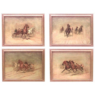 Mid-20th Century American Art Moderne Signed Oil Paintings - Set of 4 For Sale
