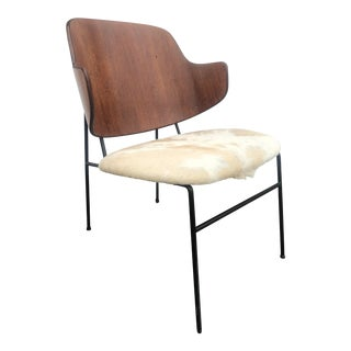 1950s Mid-Century Danish Ib Kofod Larsen for Selig Penguin Chair in Cowhide For Sale