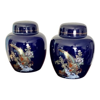 Cobalt and Gold Asian Chinoiserie Small Porcelain Ginger Jars - a Pair For Sale