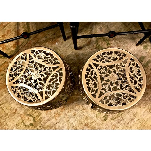 Pair of Cast Brass Chinoiserie Garden Stools, Scrolling Vines, C. 1960 For Sale - Image 4 of 6