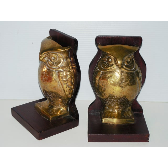 Boho Chic Mid-Century Brass and Rosewood Owl Bookends - Pair For Sale - Image 3 of 7