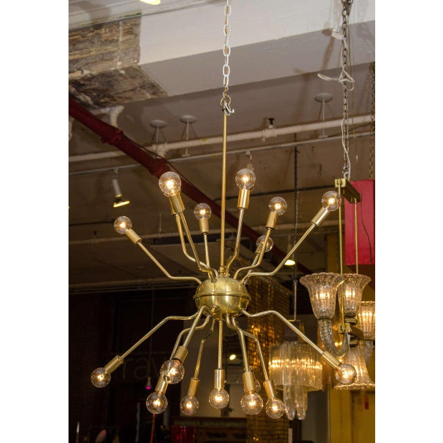 Italian Brass Spider Sputnik Chandelier Pendant Attributed to Arredoluce - Image 2 of 7