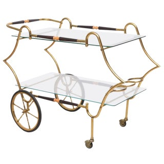 1950 Italian Brass and Glass Trolley Server