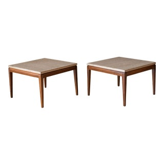 Pair of Vintage Travertine and Walnut End Tables For Sale