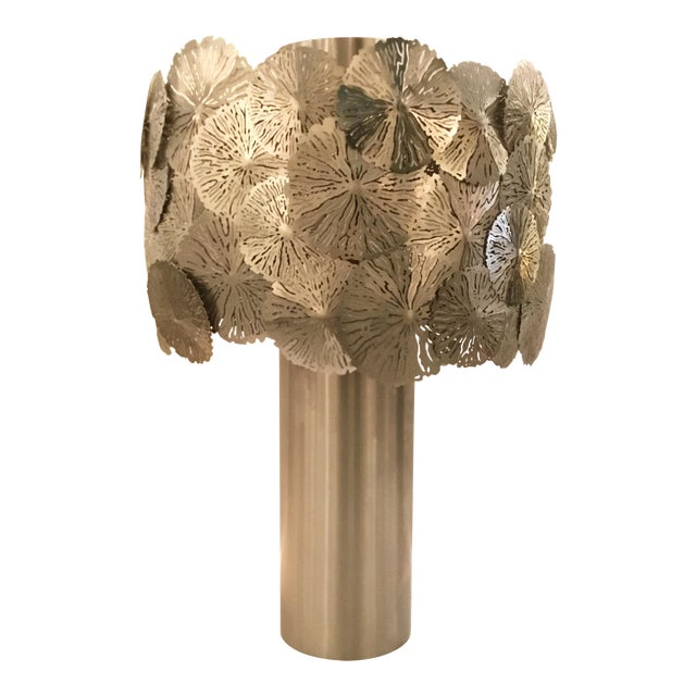 Modern Studio a Home Lily Pad Silver Metal Table Lamp For Sale