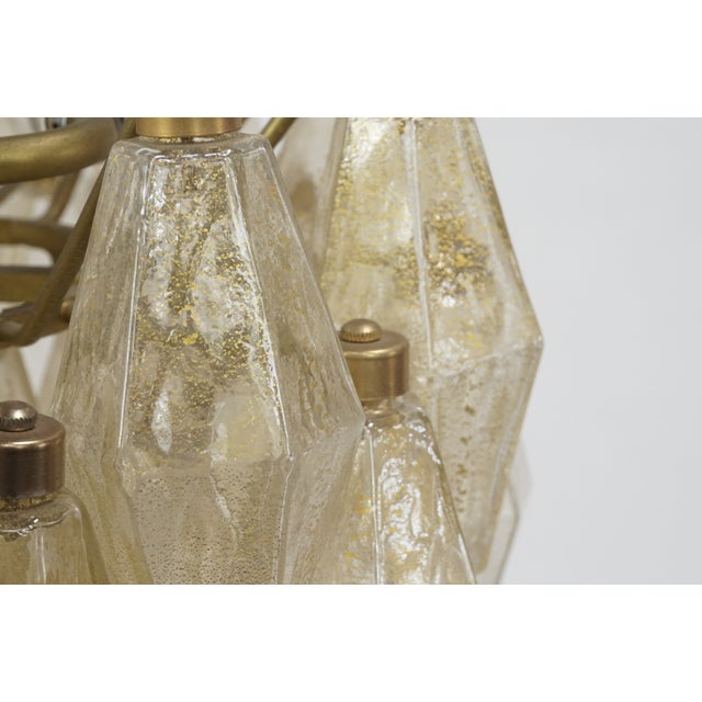 Gold Gold Flecked Glass Polyhedral Chandelier by Carlo Scarpa for Venini For Sale - Image 8 of 8