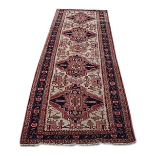 Vintage Handmade Persian Karajah Runner - 3′5″ × 11′