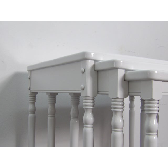 Contemporary Contmemporary Wood Nesting Tables in Fresh White Lacquer Finish - Set of 3 For Sale - Image 3 of 6