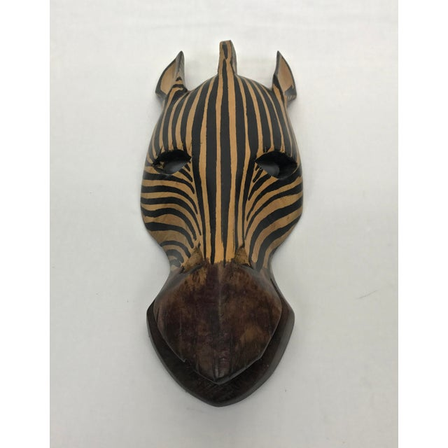African Safari Style Wooden Zebra Mask For Sale - Image 3 of 9