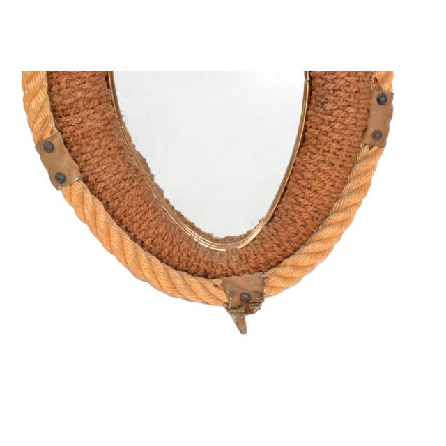 Adrien Audoux and Frida Minet Audoux Minet Style Beige Oval Wall Mirror Nautical French Provincial Rope & Jute For Sale - Image 4 of 8