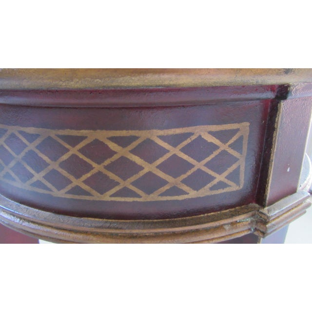 Round Red & Gold Painted End Table - Image 3 of 3