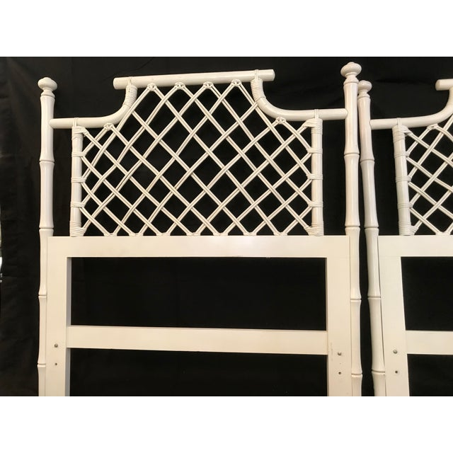 1970s Ficks Reed Twin or King Faux Bamboo Hollywood Regency Pagoda Headboards - a Pair For Sale - Image 10 of 13