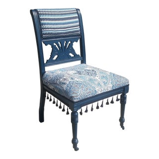 19th Century Victorian Style Bohemian Blue Side Chair For Sale