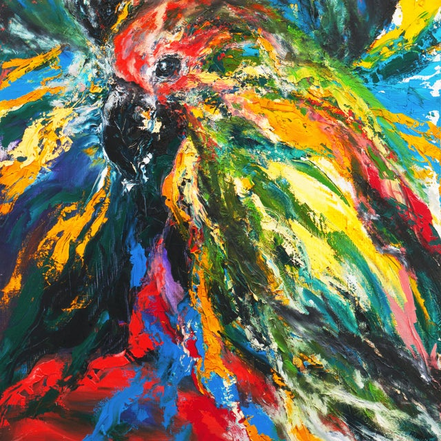 'Pair of Parrots' by Rosemary Hornak, 1992; American Expressionist For Sale - Image 4 of 8