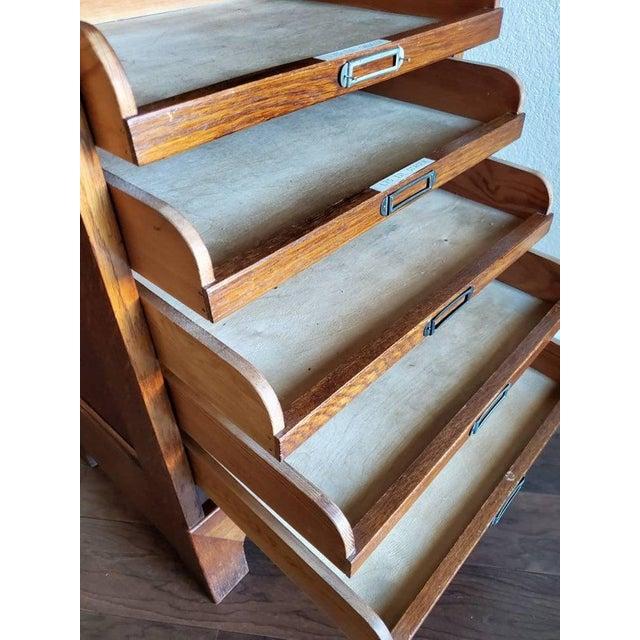 Wood Mid-Century Danish Modern Tiger Oak Tambour Cabinet For Sale - Image 7 of 11