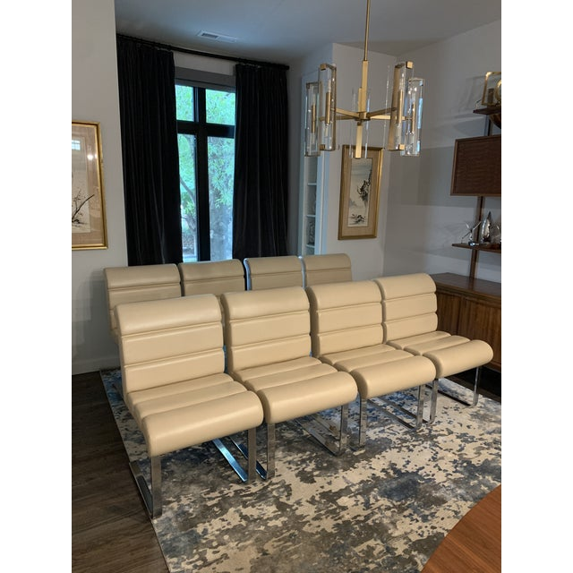Mariani Laguna Pace Cantilevered Chrome and Leather Dining Chairs - Set of 8 For Sale In Charlotte - Image 6 of 11