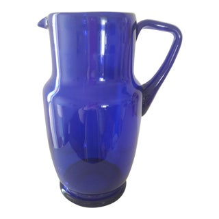 Mid-Century Modern Cobalt Glass Pitcher