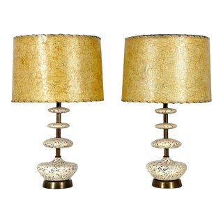 Vintage 1950's Mid Century Ceramic & Brass Table Lamps - a Pair For Sale