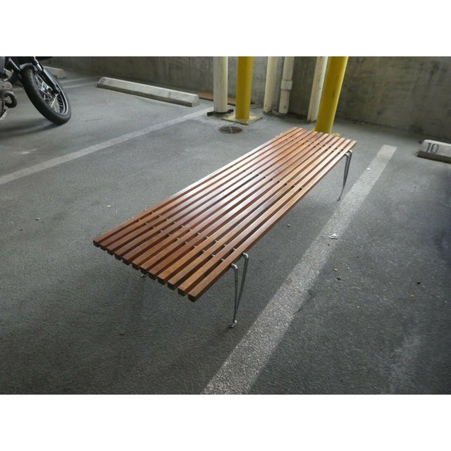 Mid Century Modern Hugh Acton Slatted Wood Bench For Sale In Miami - Image 6 of 9