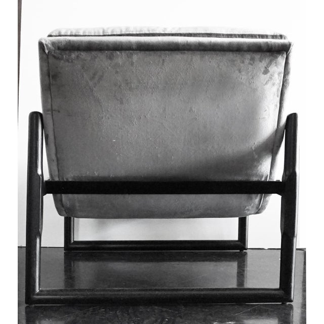 Milo Baughman Grey Mohair Scoop Cube Lounge Chair For Sale - Image 5 of 7