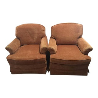 Classic Upholstered Club Chairs- Coral Chenille- a Pair For Sale