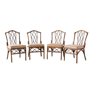 Set of Four Brown Jordan Rattan Dining Chairs For Sale