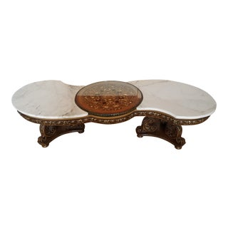 S-Shaped Marble & Gold Leaf Wood Table With Glass Circular Top For Sale