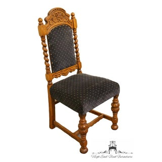 1920's Antique Jacobean Gothic Revival Solid Oak Dining Side Chair Preview