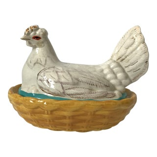 White Staffordshire Hen on Nest Tureen For Sale