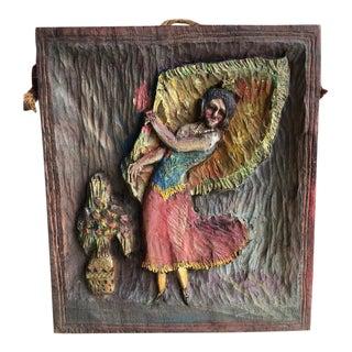 """1936 Vintage """"Dancing Dee"""" Folk Art Hand Carved Plaque For Sale"""