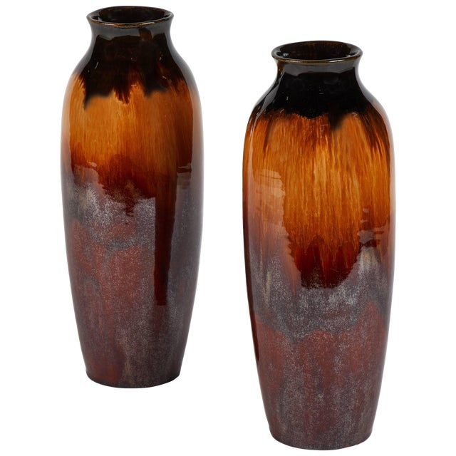 Pair of 1950s Lustreware Vases From England For Sale