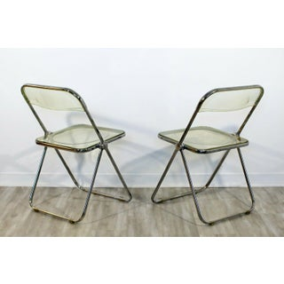 Mid Century Modern Set 4 Lucite Chrome Folding Side Chairs Italy 1960s Castelli Preview