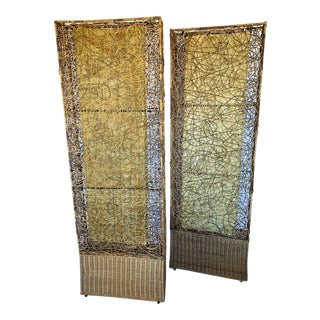 Vintage Spaghetti Rattan Rectangular Floor Lamps - a Pair For Sale