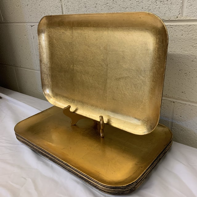 Wedding gift season is just around the corner! Give vintage! Fantastic set of large gold leaf trays that could be used as...