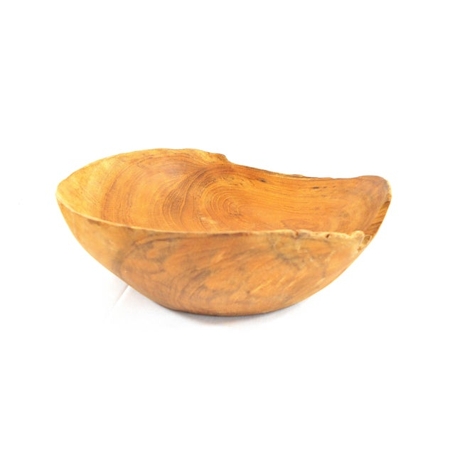 Hand Carved Solid Cherry Wood Bowl For Sale - Image 4 of 9