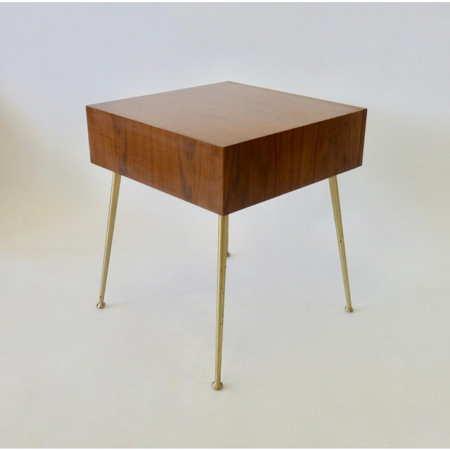 Wood Robsjohn Gibbings Widdicomb Nightstand Side Table with Raffia Cane Covered Pull For Sale - Image 7 of 9