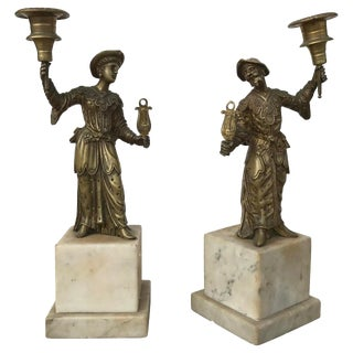 Early 19th Century Vintage Bronze and Marble Chinoiserie Candlesticks- A Pair For Sale