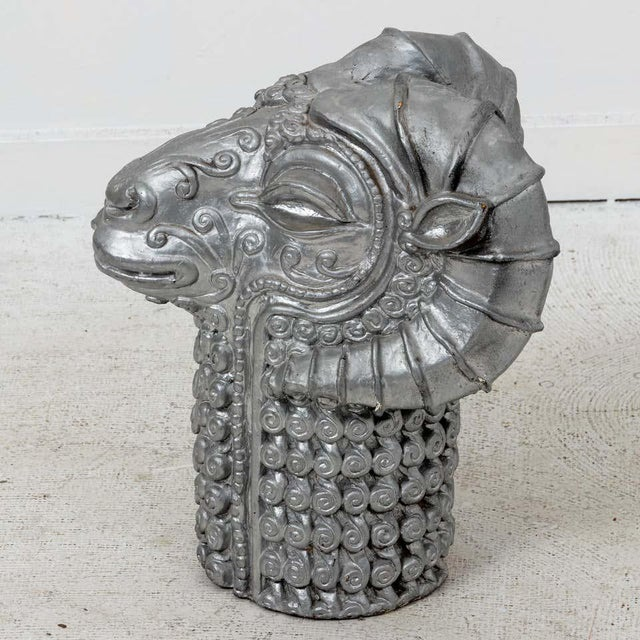 Midcentury plaster stylized ram's head sculpture with silver finish. Circa 1960s.