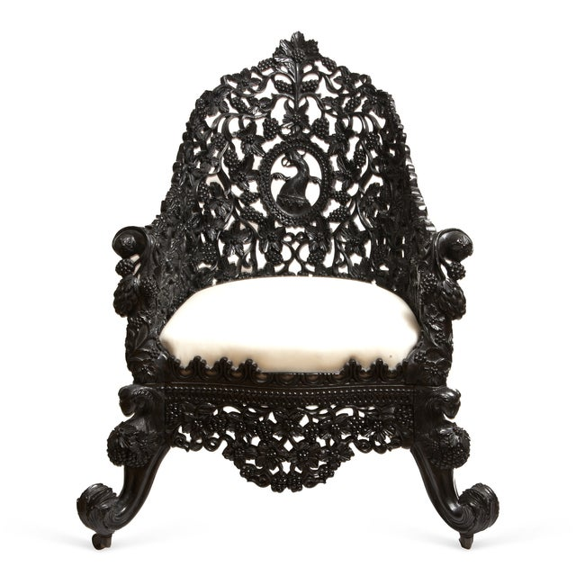 Antique 1850 Anglo-Indian Hand Carved Chair - Image 1 of 6