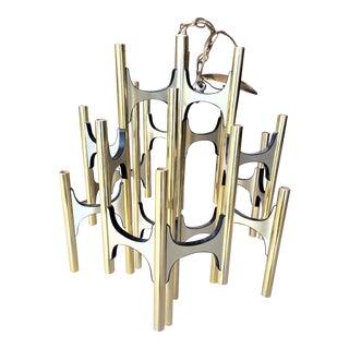 Gaetano Sciolari for Lightolier Brush Brass Chandelier