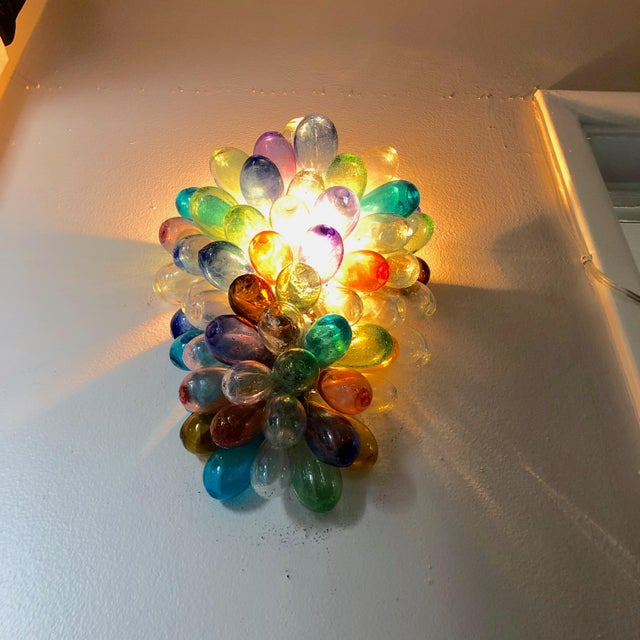 2020s Colorful Wall Sconce Fixture of Recycle Hand Blown Glass For Sale - Image 5 of 11