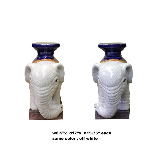 Blue Pair Ceramic Chinese Off White Oriental Elephant Pedestal Figures For Sale - Image 8 of 10