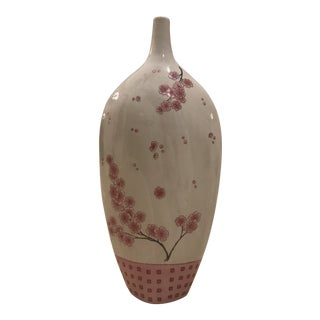 Pink & White Ceramic Cherry Blossom Decorative Vase For Sale
