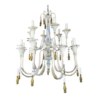Painted Metal Chandelier W/ Gilt Tassels For Sale
