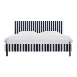 King Tailored Platform Bed in Navy Cabana Stripe For Sale