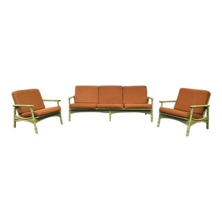 Mid Century Wooden Bamboo Motif Patio Set - Set of 3 For Sale